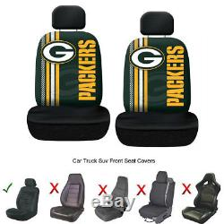 NFL Green Bay Packers Car Truck 2 Front Seat Covers & Steering Wheel Cover Set