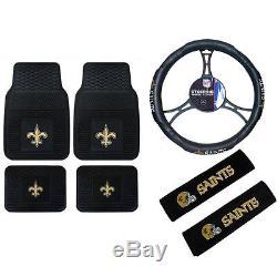 NFL New Orleans Saints Car Truck Floor Mats Steering Wheel Cover Seat Belt Pads