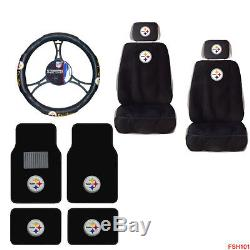 NFL Pittsburgh Steelers Car Truck Seat Covers Steering Wheel Cover & Floor Mats