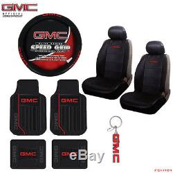 New 10pcs GMC Elite Style Car Truck Seat Covers Floor Mats Steering Wheel Cover