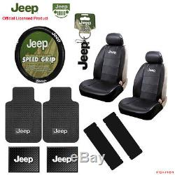 New 12pc JEEP Factory Logo Car Truck Seat Covers Floor Mats Steering Wheel Cover