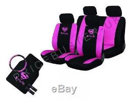 New 13 Piece Pink Supergirl Car Seat Cover Set + Mats Steering Wheel Cover &More