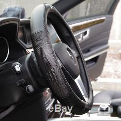 New 14.75 Dia Black Genuine Leather 7469 Steering Wheel Cover Crocodile Style