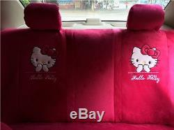New 18 PCs Hello Kitty Dark Pink Car Seat Covers Steering Wheel Cover For Winter