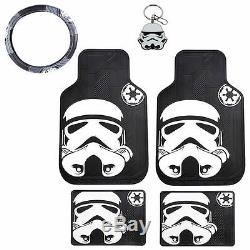 New 6pcs Star Wars Stormtrooper Car Truck Floor Mats Steering Wheel Cover Set