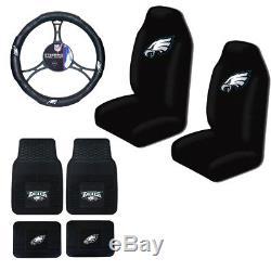 New 7pcs NFL Philadelphia Eagles Seat Covers Floor Mats Steering Wheel Cover
