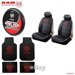 New 9pcs Dodge RAM Logo Car Truck Seat Covers Floor Mats Steering Wheel Cover