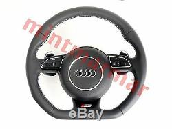 New Audi S5 Flat Bottom Leather Steering Wheel with Shift Paddles A4 A5 Q5 1080