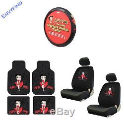 New Betty Boop Skyline Red Dress 9Pc Floor Mat Seat Covers Steering Wheel Cover