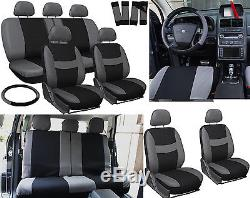 New Black 5-seats Seat Cover with Steering Wheel Cover And Safety Belt Cover