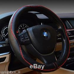 New Black Real Leather Auto Car Steering Wheel Cover An-ti Slip Grip Hit 38cm