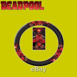 New DC Comic Deadpool Car Seat Covers Floor Mat and Steering Wheel Cover Set