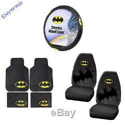 New DC Comics Batman Dark Knight 7Pc Floor Mat Seat Covers Steering Wheel Cover