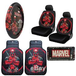 New DeadPool Car Truck Front Seat Covers Floor Mats Steering Wheel Cover Set