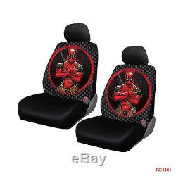 New Deadpool Car Truck Front Rear Floor Mats Seat Covers & Steering Wheel Cover