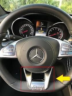 New Genuine Mercedes Benz MB C W205 Amg Steering Wheel Low Cover Silver Trim