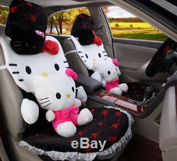 New Hello Kitty Car Seat Covers Steering Wheel Cover Head restraint 14pcs