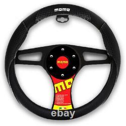 New MOMO Black Carbon Fiber Car Steering Wheel Cover Size M 14.5 15.5