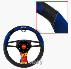 New MOMO Blue Black Car Steering Wheel Cover PU Leather Size M 14.5 15.5