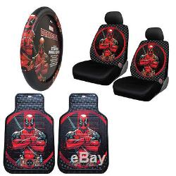 New Marvel DeadPool Car Truck Front Seat Covers Floor Mats Steering Wheel Cover