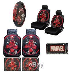 New Marvel Deadpool Car Truck Front Seat Covers Floor Mats Steering Wheel Cover
