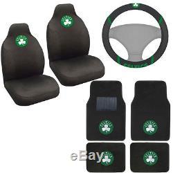New NBA Boston Celtics Car Truck Seat Covers Floor Mats Steering Wheel Cover Set