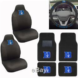 New NCAA Duke Blue Devils Car Truck Seat Covers Floor Mats Steering Wheel Cover