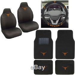 New NCAA Texas Longhorns Car Truck Seat Covers Floor Mats & Steering Wheel Cover