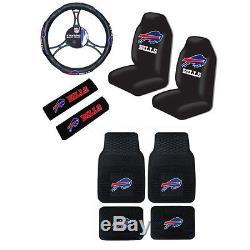 New NFL Buffalo Bills Car Truck Seat Covers Steering Wheel Cover Floor Mats