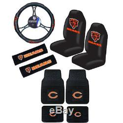 New NFL Chicago Bears Car Truck Seat Covers Steering Wheel Cover Floor Mats