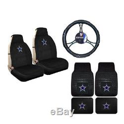 New NFL Dallas Cowboys Sideless Seat Covers Floor Mats Steering Wheel Cover