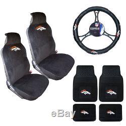 New NFL Denver Broncos Sideless Seat Covers Floor Mats Steering Wheel Cover