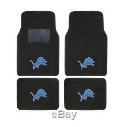 New NFL Detroit Lions Car Truck Seat Covers Floor Mats Steering Wheel Cover Set