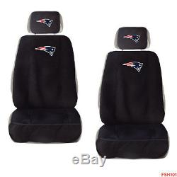 New NFL New England Patriots Car Truck 2 Front Seat Covers Steering Wheel Cover