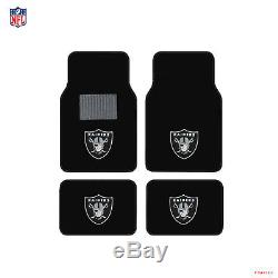 New NFL Oakland Raiders Car Truck Seat Covers Floor Mats Steering Wheel Cover