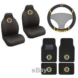 New NHL Boston Bruins Car Truck Seat Covers Floor Mats Steering Wheel Cover Set