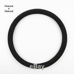 New Official Alcantara Suede Steering Wheel Cover Dual For Vehicle Charcoal 38mm