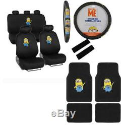 New Set Despicable Me Minions Car Seat Covers Steering Wheel Cover & Floor Mats