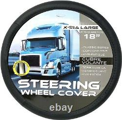 New Steering Wheel Cover Truck Black PU Leather Size XL 18