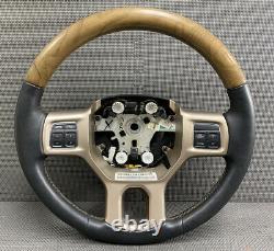 OEM 13-18 RAM Truck Woodgrain Black Leather Steering Wheel Radio Cruise Control