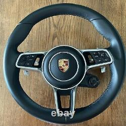 PORSCHE Cayenne Panamera 971 SPORT PDK Steering Wheel OEM HEATING BOOST LEATHER