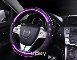 PU Leather Non slip Handle Purple Violet Car Steering Wheel Cover for Auto Car