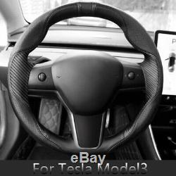 Perforated Leather Carbon Fiber Steering Wheel Stitch Cover For Tesla Model 3