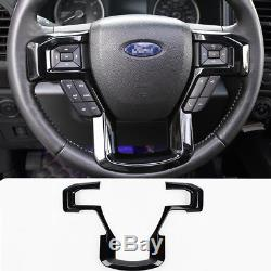 Piano Black ABS Inner Steering Wheel Cover Trim For Ford F150 F-150 2016-2018