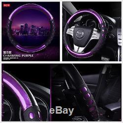Purple 38cm Non-slip Car Handle Steering Wheel Case Leather Steering Wheel Cover
