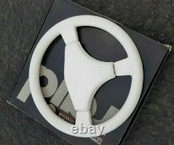 RAID 1 INTERAD White Leather Steering Wheel, 360mm Rare Porsche DIno Euro BMW VW