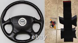 RED v2 Stitching Subaru WRX/STI Steering Wheel Wrap Suede 2002-2004