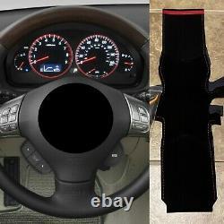 RED v2 Stitching Subaru WRX/STI Steering Wheel Wrap Suede 2008-2014
