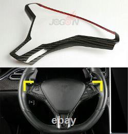 Real Carbon Fiber Car Steering Wheel Type Cover Trim For Tesla model X S 2014-19