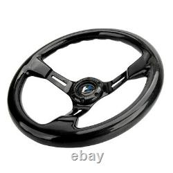 Real Carbon Fiber Spoke 350MM 14 Black Car Steering Wheel Horn Button 6 Holes
